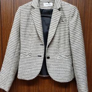 Calvin Klein White Blue Gray Tweed Jacket